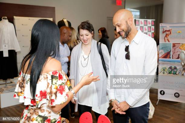 Elisa Pugliese and KeeganMichael Key attend Kari Feinstein's Style Lounge presented by Ocean Spray at the Andaz Hotel on September 14 2017 in Los...