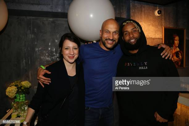 Elisa Pugliese KeeganMichael Key and Odell Beckham Jr of the New York Giants attend Project 375's 'Paddle Battle' pingpong charity tournament at SPiN...