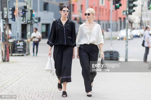 Elisa Schenke and Leonie Markhorst during the MercedesBenz Fashion Week Berlin Spring/Summer 2018 at Kaufhaus Jandorf on July 6 2017 in Berlin Germany