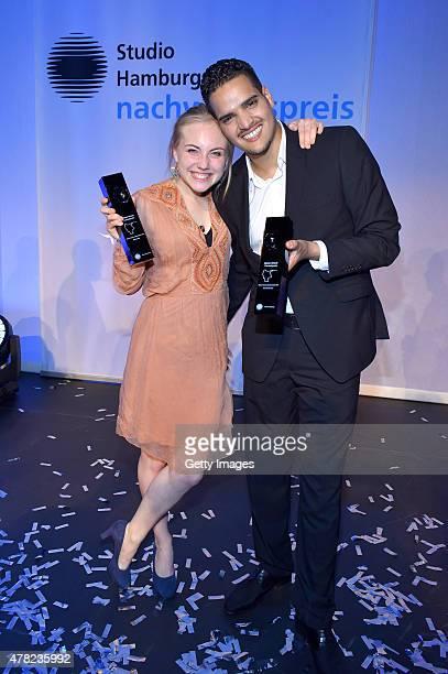 Elisa Schlott and Yasin El Harrouk pose with their awards during the Studio Hamburg Nachwuchspreis 2015 at Thalia Theater on June 23 2015 in Hamburg...
