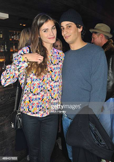 Elisa Sednaoui and Alex Dellal attend the Lacome pre BAFTA party at The London Edition Hotel on February 14 2014 in London England
