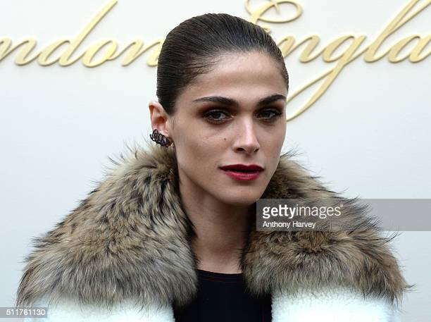 Elisa Sednaoui attends the Burberry show during London Fashion Week Autumn/Winter 2016/17 at Kensington Gardens on February 22 2016 in London England