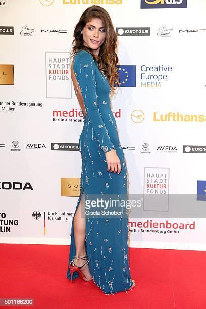 Elisa Sednaoui wearing a blue dress by Prada, during the European Film Awards 2015 at Haus Der Berliner Festspiele on December 12, 2015 in Berlin,...