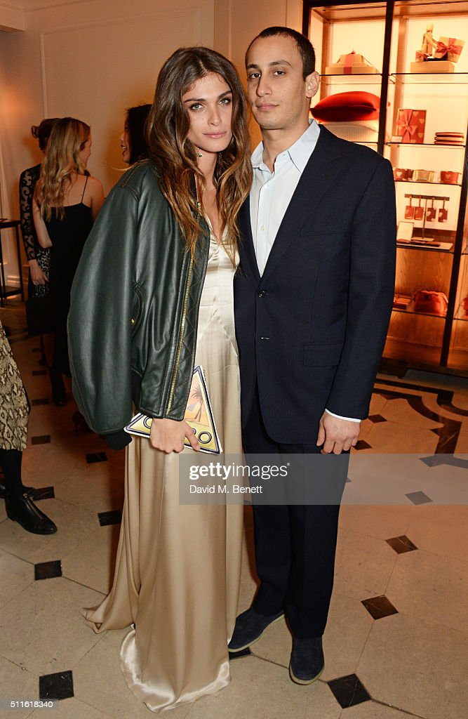 Elisa Sednaoui-Dellal (L) and Alexander Dellal attend as mytheresa.com and Burberry celebrate the new MYT Woman at Thomas's on February 21, 2016 in London, England.