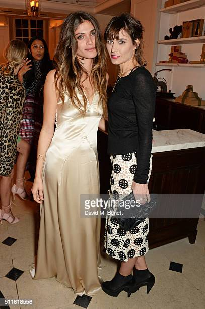 Elisa SednaouiDellal and Sheherazade Goldsmith attend as mytheresacom and Burberry celebrate the new MYT Woman at Thomas's on February 21 2016 in...