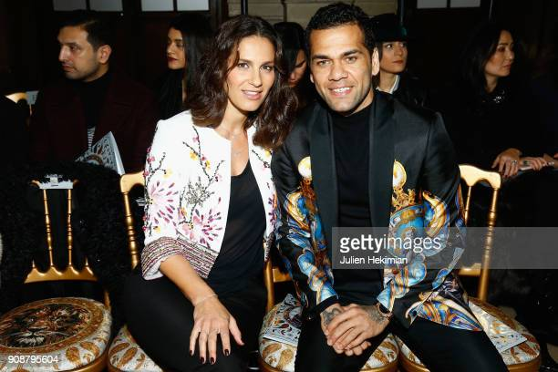 Elisa Tovati and Dani Alvez Faz attend the Georges Hobeika Haute Couture Spring Summer 2018 show as part of Paris Fashion Week on January 22, 2018 in...