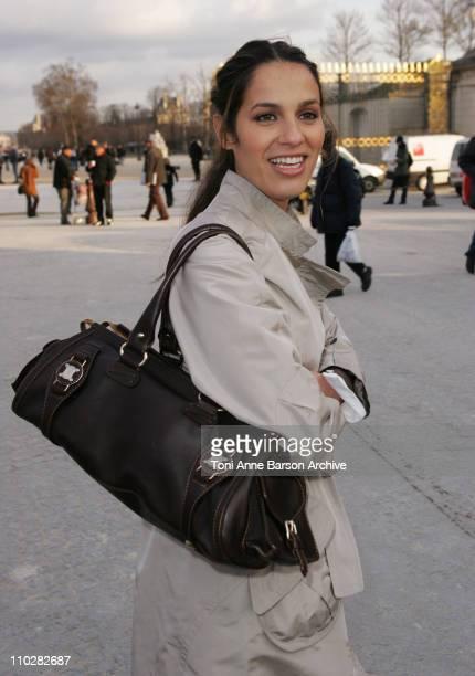 Elisa Tovati during Paris Fashion Week Autumn/Winter 2006 Ready to Wear Celine Departures at Jardins Ephemeres in Paris France