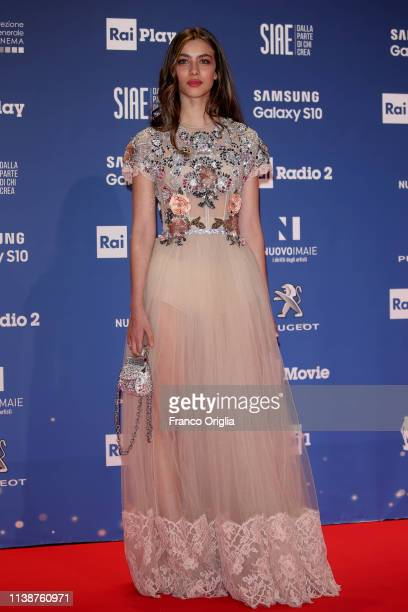 Elisa Visari walks a red carpet ahead of the 64 David Di Donatello awards ceremony Red Carpet on March 27 2019 in Rome Italy