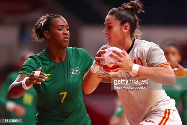 Elisabet Cesareo Romero of Team Spain under pressure from Tamires de Araujo of Team Brazil during the Women's Preliminary Round Group B handball...