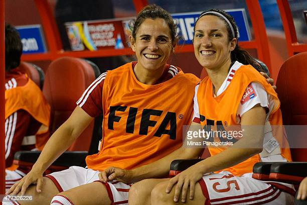 Elisabet Ibarra and teammate Silvia Meseguer of Spain pose for a photo during the 2015 FIFA Women's World Cup Group E match against Brazil at Olympic...