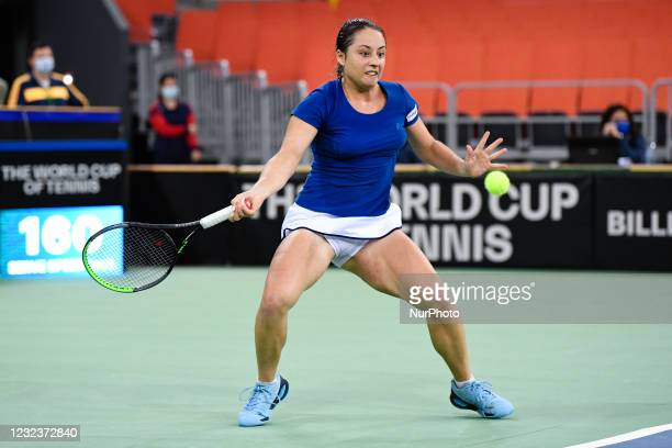 Elisabeta Cocciaretto player of team Italy during the match against Mihaela Buzarnescu, romanian player during the Billie Jean King cup in...