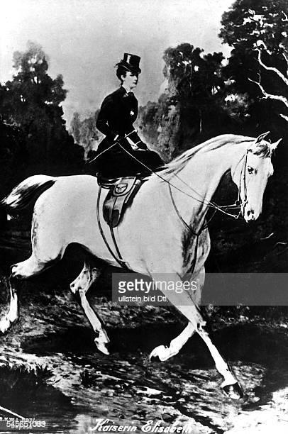 Elisabeth Amalie Eugenie gen 'Sissi'24121837 10091898Kaiserin von Österreich seit 1854Königin von Ungarn seit 1867 Porträt zu Pferd Zeichnung