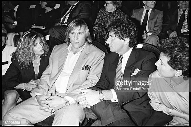 Elisabeth and Gérard Depardieu, Jack Lang and his wife Monique at Jean De Florette film premiere in Paris, 1986.