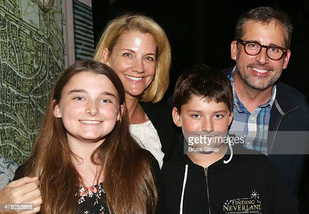 Elisabeth Anne Carell Nancy Carell John Carell and Steve Carell pose backstage at the hit musical Finding Neverland on Broadway at The Lunt Fontanne...