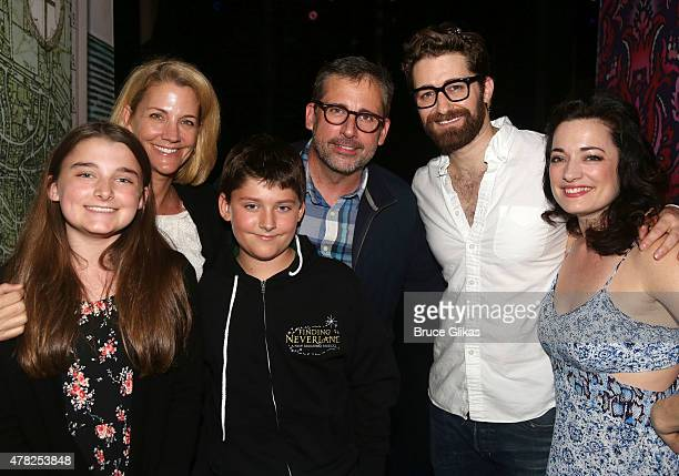 Elisabeth Anne Carell Nancy Carell John Carell Steve Carell Matthew Morrison and Laura Michelle Kelly pose backstage at the hit musical Finding...