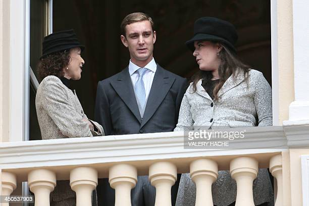 Elisabeth Anne de Massy , Pierre Casiraghi and Melanie de Massy appear on the balcony of Monaco Palace during the celebrations marking Monaco's...