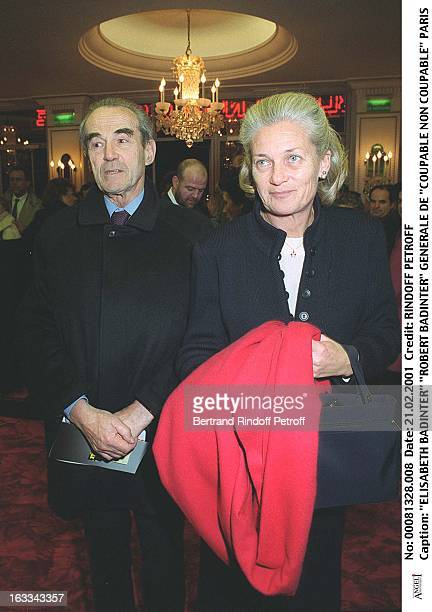 Elisabeth Badinter and Robert Badinter at Coupable Non Coupable Production In Paris