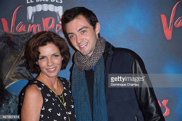 Elisabeth Bourgine and her son Jule attend the 'Le Bal Des Vampires' : Premiere at Theatre Mogador on October 16, 2014 in Paris, France.