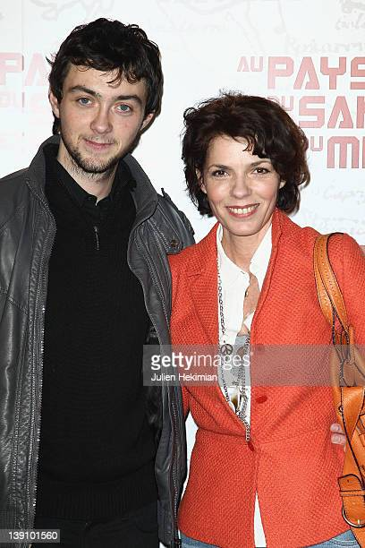 Elisabeth Bourgine and her son Jules attend In The Land Of Blood And Honey Paris premiere on February 16 2012 in Paris France