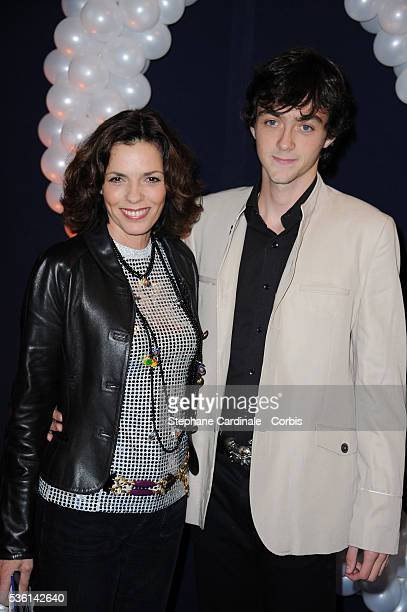 Elisabeth Bourgine and her son Jules attend the premiere of Mamma Mia at Theatre Mogador in Paris