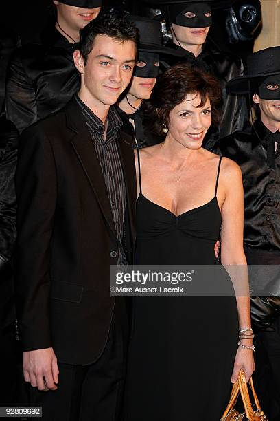 Elisabeth Bourgine and her son Jules attend the premiere of 'Zorro' at the Folies Bergeres on November 5 2009 in Paris France