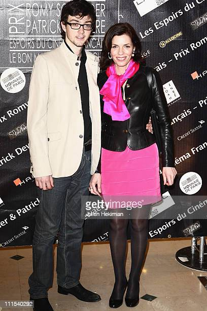 Elisabeth Bourgine and her son Jules attend the Romy Schneider And Patrick Dewaere Awards 2011 at Le Bon Marche on April 4 2011 in Paris France