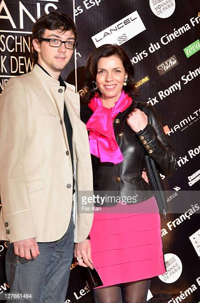 Elisabeth Bourgine and her son Jules attend the 'Romy Schneider and Patrick Dewaere Awards 2011 Ceremony at the Bon Marche on April 4 2011 in Paris...