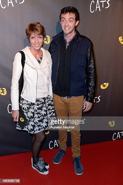 Elisabeth Bourgine and her son Jules Bourgine attend the 'Cats' photocall at Theatre Mogador on October 1 2015 in Paris France