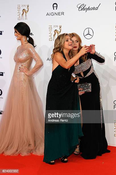 Elisabeth Burda and Palina Rojinski arrive at the Bambi Awards 2016 at Stage Theater on November 17 2016 in Berlin Germany