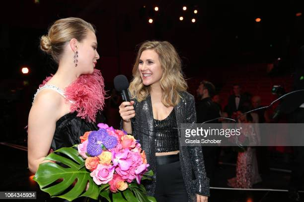 Elisabeth Burda daughter of Dr Hubert Burda in interview with Alicia von Rittberg during the Bambi Awards 2018 final applause at Stage Theater on...