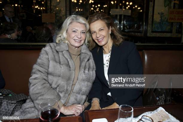 Elisabeth Dauchy and Marie Dominique de Montmarin attend the 83rd Prix Cazes de la Brasserie Lipp Literary Prize at Brasserie Lipp on March 22 2018...