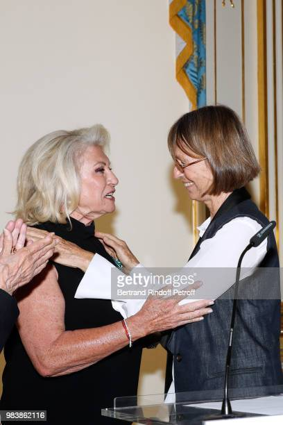 Elisabeth Dauchy decorated 'Officier des Arts et des Lettres' and French Minister of Culture Francoise Nyssen attend Decorations are given at...