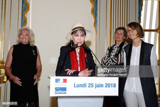 Elisabeth Dauchy decorated 'Officier des Arts et des Lettres' Anna Karina decorated 'Chevalier de la Legion d'Honneur' Madeline Fontaine decorated...
