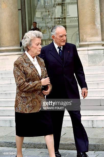 Elisabeth de Boissieu daughter of French General Charles de Gaulle and her husband General Alain de Boissieu leave the Elysee palace on October 2...