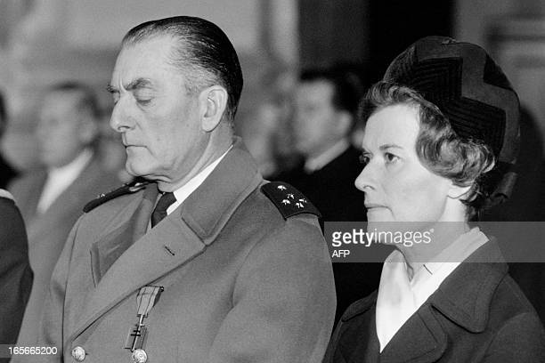 Elisabeth de Boissieu daughter of French General Charles de Gaulle and her husband General Alain de Boissieu attend a religious ceremony...