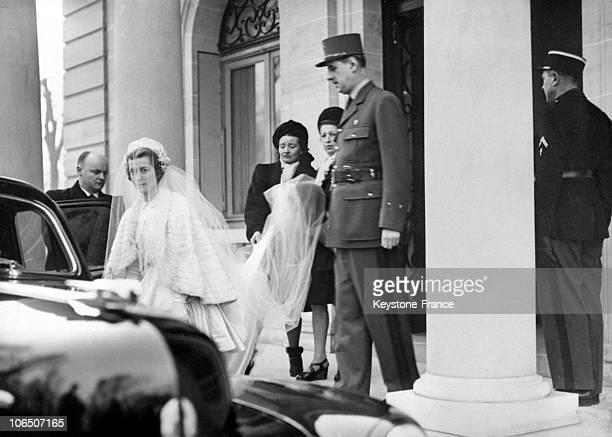 Elisabeth De Gaulle And Alain De Boissieu During Their Wedding In 1946