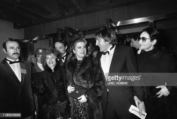 """Elisabeth Depardieu, Catherine Deneuve, Gerard Depardieu and Barbara go by subway to the cinema """"le Grand Rex"""" to participate in the eighth ceremony..."""