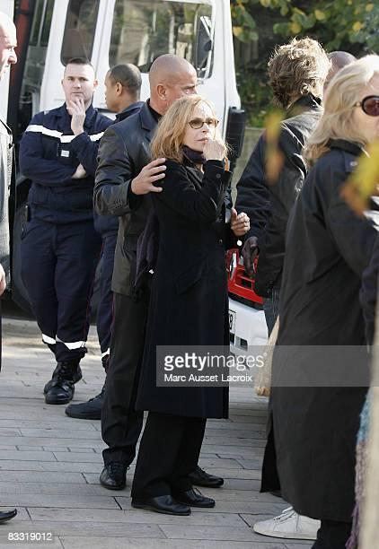 Elisabeth Depardieu leaves Guillaume Depardieu's funeral service at Notre-Dame Church on October 17, 2008 in Bougival, France.