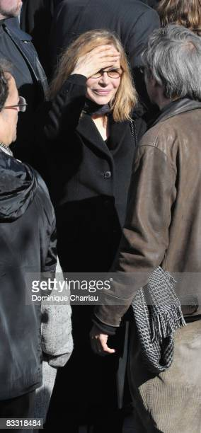 Elisabeth Depardieu leaves the church after Guillaume Depardieu's funeral service at Notre-Dame Church on October 17, 2008 in Bougival, France.