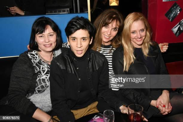 Elisabeth Deshaye Tony Boccara writer Anna Veronique El Baze and actress Juliette Nicolet attend 'Mecs A Poils' Stefanie Renoma Exhibition Party at...