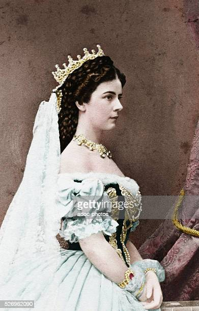 Elisabeth , Empress of Austria , Consort of Franz-Joseph II. Ca. 1870. Coloured photograph.