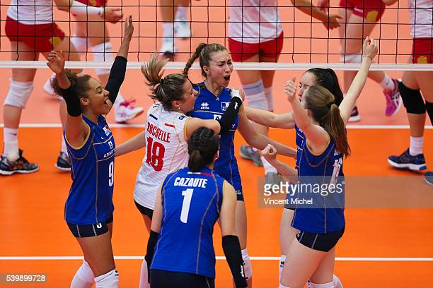 Elisabeth Fedele Alexandra Rochelle and Pauline Martin of France during the CEV European League match at Salle Colette Besson on June 11 2016 in...