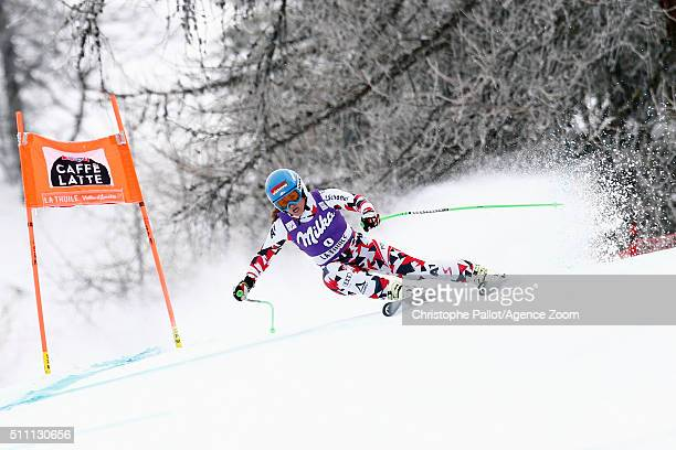 Elisabeth Goergl of Austria competes during the Audi FIS Alpine Ski World Cup Women's Downhill Training on February 18 2016 in La Thuile Italy