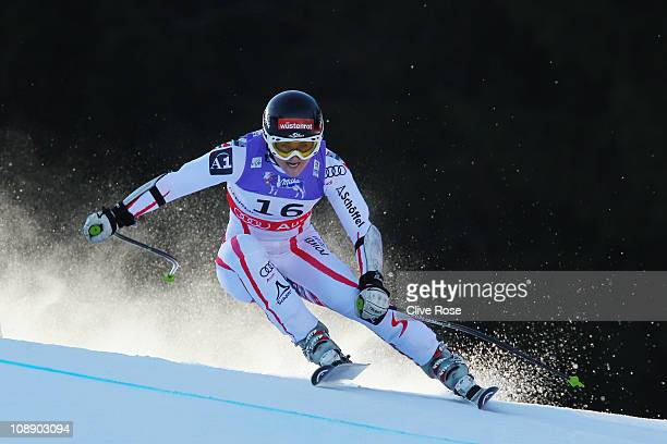 Elisabeth Goergl of Austria competes in the Women's Super G during the Alpine FIS Ski World Championships on the Kandahar course on February 8 2011...