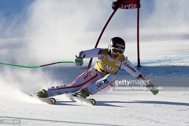 Elisabeth Goergl of Austria in action during the Audi FIS Alpine Ski World Cup Women's SuperG on January 15 2012 in Cortina d'Ampezzo Italy