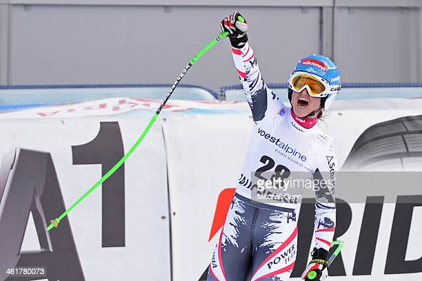 Elisabeth Goergl of Austria reacts in the finish area of the FIS Alpine World Cup downhill race on January 11 2014 in Zauchensee Austria