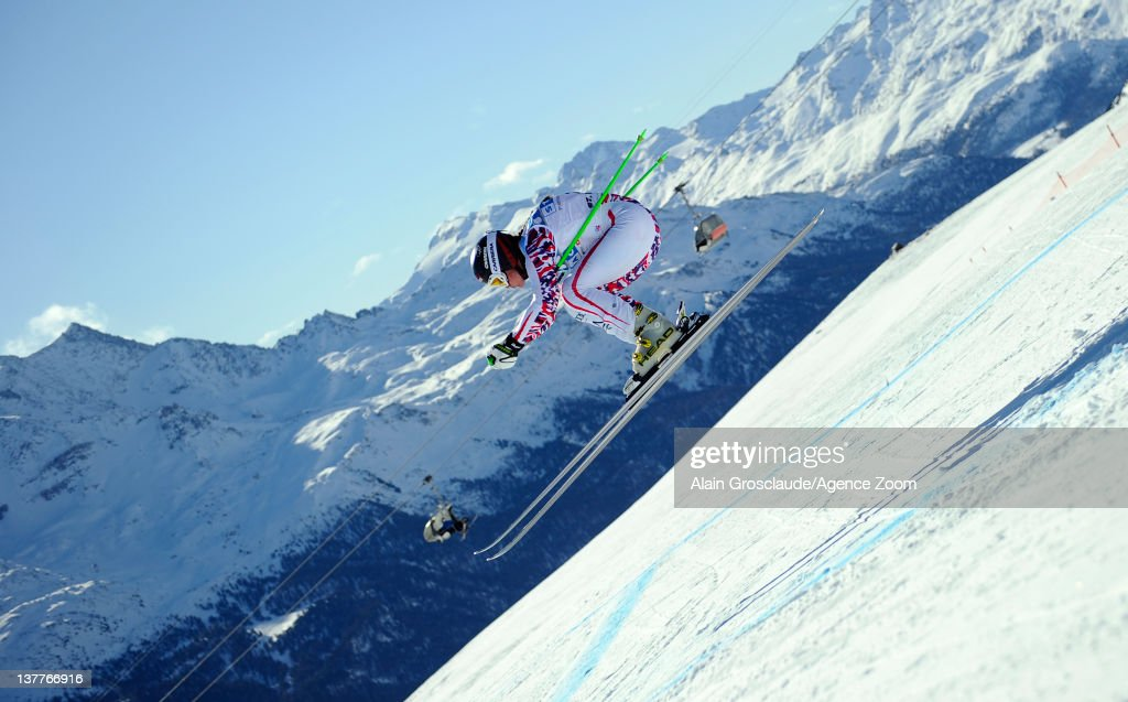Elisabeth Goergl of Austria skis during the Audi FIS Alpine Ski World Cup Women's Downhill Training on January 26, 2012 in St.Moritz, Switzerland.