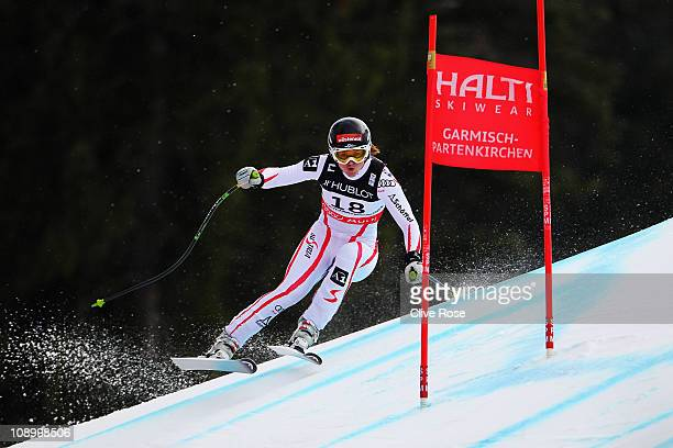 Elisabeth Goergl of Austria skis in the Women's Super Combined Downhill during the Alpine FIS Ski World Championships on the Kandahar course on...