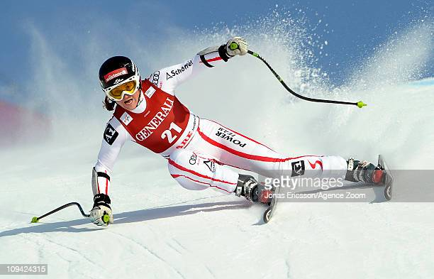 Elisabeth Goergl of Austria takes 3rd place during the Audi FIS Alpine Ski World Cup Women's Super Combined on February 25, 2011 in Are, Sweden.