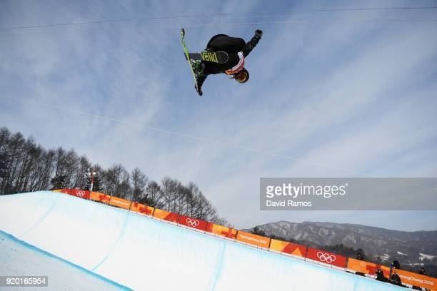Elisabeth Gram of Austria competes during the Freestyle Skiing Ladies' Ski Halfpipe Qualification on day 10 of the PyeongChang 2018 Winter Olympic...